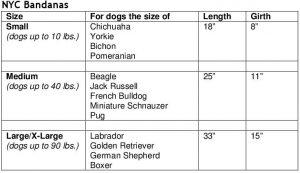 bandana size chart