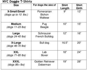doggietshirts size chart
