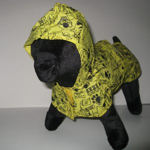 Front view of rain poncho to pouch